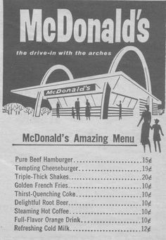 Original McDonald's Menu 1950s