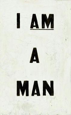 """""""Eu sou um homem"""" – Poster empunhado por 1.300 trabalhadores negros do saneamento em Memphis (sul dos EUA), em protesto contra as más condições de trabalho e baixos salários."""