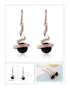 Rose #Gold Plated Dangle #Earrings With Zircons and Black #Beads  Sale ends Sat,Dec12 ! http://krat.im/6n2