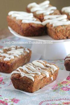 Iced Cinnamon Zucchini Bread, simple quick bread perfect for Fall baking!