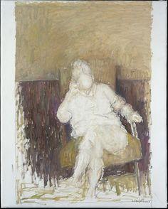 Aimée au fauteuil (Harmonie ocre et brun)