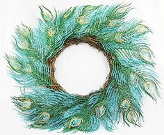 """Amazon.com: 22"""" Regal Peacock Glitter Drenched Faux Feather Christmas Wreath - Unlit: Home & Kitchen"""