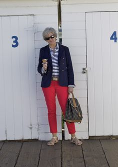 blue hues with hot pink denim - Style at a certain age