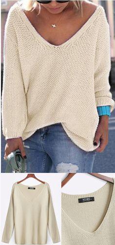 Classic Design Beige Loose Plunge Knitwear
