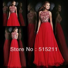 Best Selling 2014 New Arrival Elegant Beaded High Neck Red Chiffon Long Formal Evening Dresses Special Occasion Prom Party Gowns