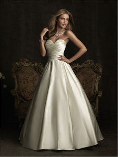 Simple A-line Strapless Sweetheart With Bow Ruched Satin Wedding Dress