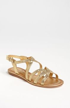 kate spade new york 'intro' sandal Gold Flat Sandals, Cute Sandals, Summer Sandals, Pretty Shoes, Cute Shoes, Me Too Shoes, Shoe Boots, Shoes Heels, Flats