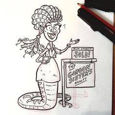 Medusa has also sold properties in Amityville Salem & Crystal Lake. Main St Monsters Day 6. #inktober #Halloween #illustration #characterdesign #cartoon #drawing #monsters #conceptart #ink #inktober2016