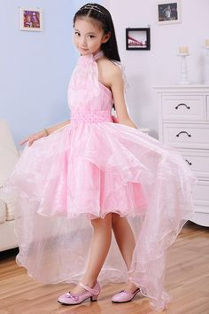 $15.14 Sweet Sleeveless Halter Neck Beaded High Low Solid Color Princess Dress For Girls