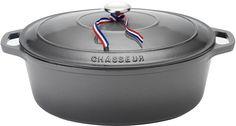 Chasseur 6 Quart Caviar Grey Enameled Cast Iron Oval Dutch Oven