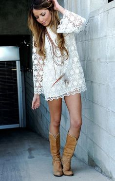 adorable!! White lace short summer dress. Camel long boots. Street clothing women apparel @roressclothes closet ideas style ladies outfit fashion