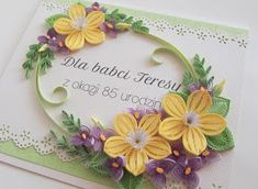 ArtLife: ~ Yellow and Purple Flowers for Granny ~ Paper Quilling Cards, Paper Quilling Patterns, Quilling Paper Craft, Quilling Flowers, Paper Flowers, Paper Crafts, Quilling Ideas, Teddy Bear Design, Quilling Christmas
