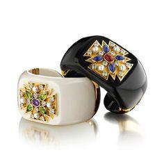 VERDURA - Maltese Cross Hinged Stone Cuffs - Amethyst, peridot, diamond, pearl, mammoth ivory and gold (left) - Ruby, Sapphire, diamond, pearl, black jade and gold (right)