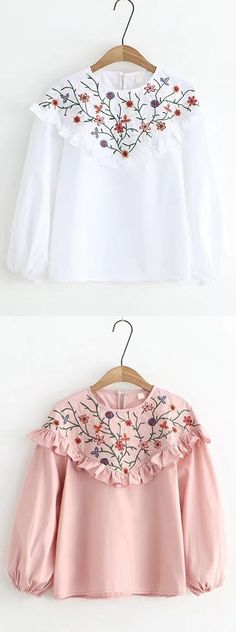 [Newchic Online Shopping] 49%OFF Women's Vintage Floral Embroidery Blouses with Long Sleeve and Flounce