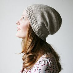 Slouchy knit hat, cream beige grey merino wool beanie -- Abbotts Harbour slouch on Etsy, Sold