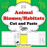 Animal Biomes Habitats Cut and Paste Worksheets, Distance Learning Savanna Animals, Pond Animals, Desert Animals, Arctic Animals, Cut And Paste Worksheets, Printable Worksheets, Temperate Deciduous Forest Animals, Coral Reef Animals, Tropical Forest