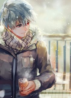 My imagination is that Touka was the person him see with him smile in he handsome face...