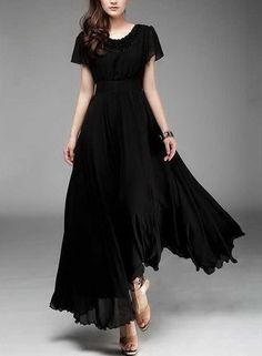 Spring summer chiffon long dress lady women clothing by handok, $78.00