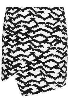 Bat Print Mini Skirt