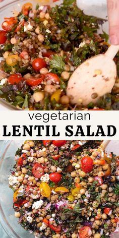 Recipes For Lentils, Healthy Lentil Recipes, Lentil Meals, New Vegetarian Recipe, Lentil Salad Recipes, Summer Vegetarian Recipes, Vegetarian Meal Prep, Summer Salad Recipes, Veggie Recipes