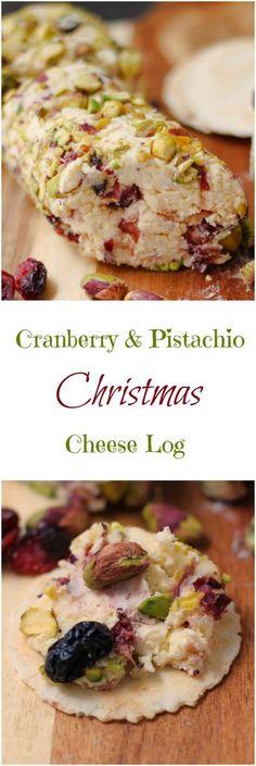 Christmas Cranberry Pistachio Cheese Log