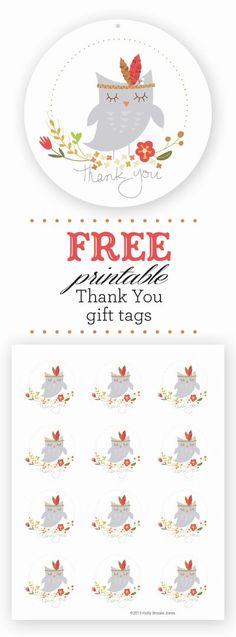 Holly Brooke Jones: Free Owl Printable Thank You Gift tags