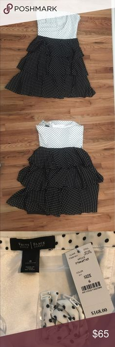White House Black Market strapless dress Beautiful white and Black Market polka dot strapless dress. New with tags. It comes with removable straps. Missing the belt. White House Black Market Dresses Midi