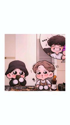 #BTS #VliveBts Wallpaper Gratis, Chibi Wallpaper, Bts Chibi, Bts Fans, I Love Anime, Bts Taehyung, Iphone, Army, Fan Art