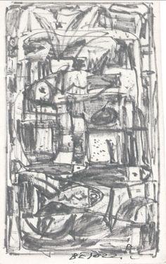 E. Besozzi pitt. s.d. (1955) Composizione (pesci) pennarello su cartoncino cm 13,8x11 arc. 583