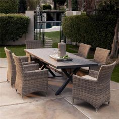 Wicker Dining Set Outdoor Patio Garden Furniture 1 Table 6 Chairs 6 Cushions