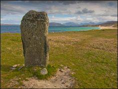 Clach Stienagaidh, Scarasta, Harris, a single monolith now, but once part of a larger stone circle, this monolith faces towards Taransay.