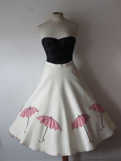 SALE RARE original vintage 50's novelty print skirt 50's felt skirt Applique Umbrella's diamonte raindrop 50's novelty skirt size S / M by VintageHoards on Etsy https://www.etsy.com/listing/235658139/sale-rare-original-vintage-50s-novelty