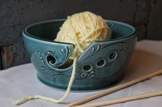 Yarn Bowl, WIDE RIM, Crochet, Knitting, Deep Green, Made to Order