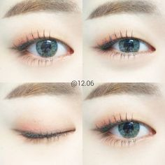 Soft pink shadow and blue contacts. I love it! #kbeauty