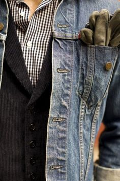 shirt and vest with jean jacket (tuck gloves into jean jacket pocket)