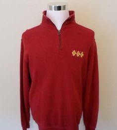 Mens Sewn USC Trojans 1/2 Zip Mock Sweater Sweatshirt shirt M NCAA Football #CampusDrive #USC