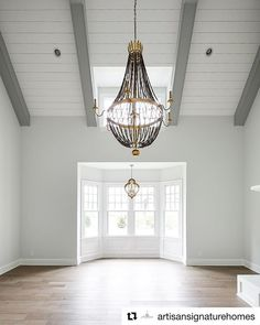 This is what youd call a Wow room The vaulted ceiling brings all the drama Cafe. This is what youd call a Wow room The vaulted ceiling brings all the drama Cafe style shutters wou Painted Ceiling Beams, Vaulted Ceiling Bedroom, Vaulted Ceiling Lighting, Shiplap Ceiling, Grey Ceiling, Kitchen Ceiling Lights, Kitchen Lighting, White Beams, White Shiplap