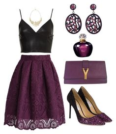 """""""Something Purple"""" by hallierosedale ❤ liked on Polyvore featuring Chicwish, Yves Saint Laurent, Talullah Tu, Jimmy Choo and Christian Dior"""