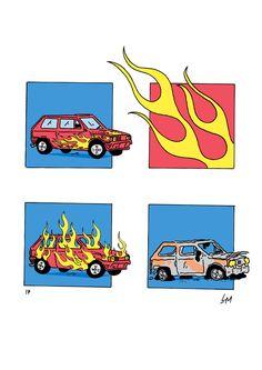 Four-panel comics by Paris-based illustrator Loïc Movellan. Art And Illustration, Illustrations Posters, Graphic Design Posters, Graphic Design Inspiration, Desenho New School, Art Sur Toile, Ligne Claire, Funky Art, Wow Art