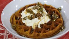 Pumpkin waffles with pumpkin spice whipped cream and espresso maple syrup Waffle Recipes, My Recipes, Brunch Recipes, Breakfast Recipes, Fall Desserts, Cookie Desserts, Pumpkin Waffles, Fall Dishes, Starbucks Recipes