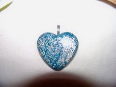 Pendant - Aqua Blue Fuzzy Heart #Etsy #Favorite #EtsyFav #Share #EtsyShop Shared by #BaliTribalJewelry http://etsy.me/1sDZ302