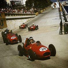 Formula1 #Monaco #Ferrari #1958  Luigi Musso, Monaco 1958, Ferrari D246, followed by team mate Mike Hawthorn and