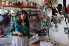 British chef and author Rachel in her micro-restaurant named La petite cuisine or The Little Paris Kitchen that she ran in her tiny 21-square-metre studio