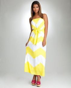 Strapless Chevron Maxi Dress - PETITES