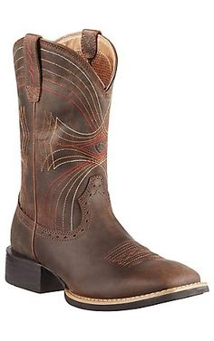 Ariat Sport Mens Distressed Brown Double Welt Wide Square Toe Cowboy Boots