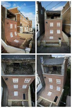 Alex Chinneck's Surreal Brick House #Architecture, #House, #Illusion