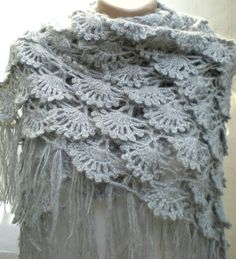 Crochet Shawl Shrug Wrap Mohair Grey For Mothers day For Mom