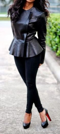 Love this black leather peplum jacket, black skinny jeans and heels! Women's street style fall winter fashion clothing outfit for dates going out All Black Fashion, I Love Fashion, Womens Fashion, Fashion Trends, Latest Fashion, Hipster Fashion, Street Fashion, Street Chic, Modern Fashion