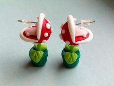 a pair cute unique super mario piranha plant chomper earring ...