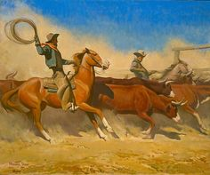 Maynard Dixon (1875-1946) Steers To Market,1936